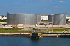 Petroleum Storage Tanks, Tampa Florida. Metallic gas and petroleum fuel storage tanks, and related equipment and fuel lines, located in the Tampa Bay port stock photo