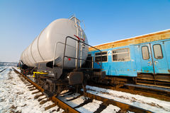 Petroleum tank on railway Royalty Free Stock Image