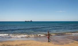 Petroliera nell'oceano Fotografie Stock