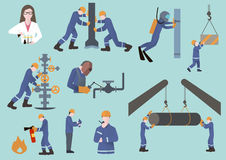 Petroliere, letturista del gas o olio e lavoratore dell'industria del gas su produzione Immagini Stock
