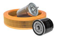 Petrolio, combustibile e filtri dell'aria automobilistici Fotografie Stock Libere da Diritti