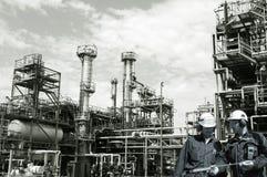 Petrolio, lavoratori gas, del combustibile e della raffineria Immagini Stock Libere da Diritti
