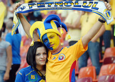 Petrolul Football Fans With Scarf Stock Image
