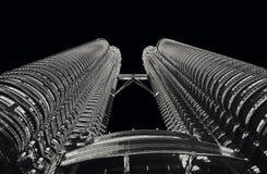 Petrona torn i monokrom för KL Malaysia fotografering för bildbyråer