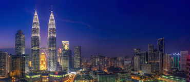 Petrona Towers & Blue Hour. Kuala Lumpur and the Petrona Towers Royalty Free Stock Photos