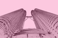 Petrona towers in KL Malaysia duo tone. Pink royalty free stock image