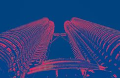 Petrona towers in KL Malaysia. Duo tone red/blue stock images