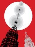 Petronas-Kontrolltürme auf Rot Stockbild