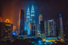 petronas torn kopplar samman Kuala Lumpur Arkivfoto