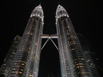 Petronas Tower during Nighttime Stock Photography