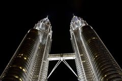 Petronas towers. At night, KL, Malaysia Stock Photos