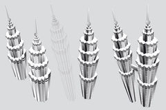 Petronas Towers. A concept illustration done by adobe illustrator, malaysia Petronas Towers building top view drawing Royalty Free Stock Photos