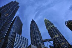 Petronas  Towers  buildings by night Royalty Free Stock Photography