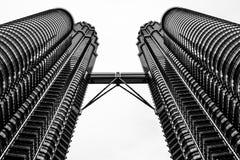 Petronas towers Kuala Lumpur, Malaysia BW Royalty Free Stock Photos