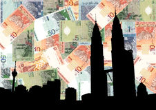 Petronas Towers with currency Stock Photos