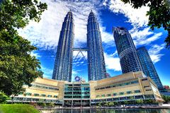 Petronas Towers in HDR Stock Photos