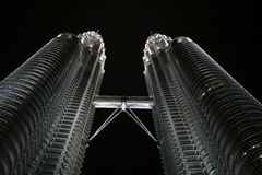 Petronas Towers In Nighttime Stock Photo