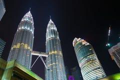 Petronas Towers in Kuala Lumpur center, Malaysia Royalty Free Stock Images