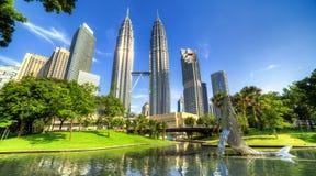 Petronas towers in Kuala Lumpur. KLCC park near Petronas towers in Kuala Lumpur royalty free stock image