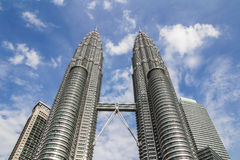 The Petronas Towers. KUALA LUMPUR,MALAYSIA - JUNE 14, 2013: The Petronas Towers,Petronas Twin Towers are twin skyscrapers in Kuala Lumpur, Malaysia. Malaysia royalty free stock image