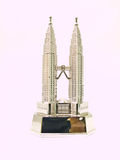 A stainless steel model of Petronas towers, twin t Royalty Free Stock Photography