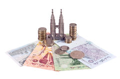 Petronas towers and malaysian money Stock Photography
