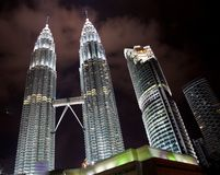 Petronas Towers at night Stock Images