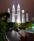 Petronas Towers at Night, Kuala Lumpur Stock Photography