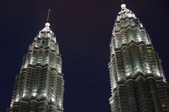 The Petronas Towers at night Stock Image