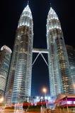Petronas Towers at night in Kuala Lumpur, Malaysia Royalty Free Stock Photos