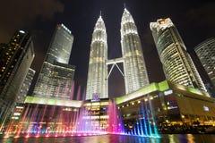 Petronas Towers at Night in Kuala Lumpur, Malaysia Stock Photos