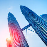 Petronas Towers at sunrise. Royalty Free Stock Photo