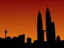 Petronas Towers at sunset Stock Image