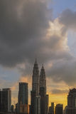 Petronas Towers at Sunset and Blue Hour Stock Images