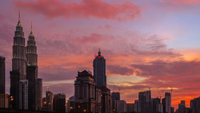 Petronas Towers at Sunset and Blue Hour Royalty Free Stock Images