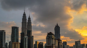 Petronas Towers at Sunset and Blue Hour Royalty Free Stock Photos