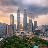 Petronas towers on sunset in Kuala Lumpur Royalty Free Stock Photography