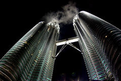 Petronas Twin Tower. Is the highest twin tower in the world so far.. it is located at the heart of kuala lumpur, malaysia Royalty Free Stock Photo