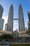PETRONAS TWIN TOWER. The twin tower and at evening time with a blue skyscape n Royalty Free Stock Photo