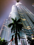 Petronas twin tower at night on a raily night Stock Photography