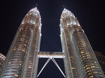 Petronas twin tower night scene Royalty Free Stock Images