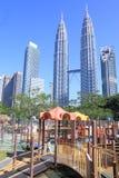 Petronas twin tower and playing ground Kuala Lumpur Stock Photo