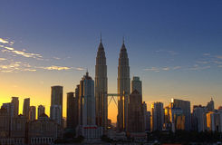 Petronas Twin Tower at sunrise Royalty Free Stock Photography