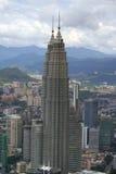 Petronas Twin Towers. Aerial view of the Petronas Twin Towers in Kuala Lumpur, Malaysia Stock Photo