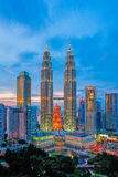 Petronas Twin Towers at Blue Hour Royalty Free Stock Photography