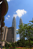 The Petronas Twin Towers buildings Royalty Free Stock Photography