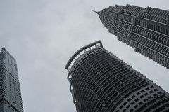 Petronas Twin Towers from the ground. stock photo