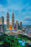Petronas Twin Towers and its park Royalty Free Stock Photos
