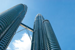 The Petronas Twin Towers (KLCC) with Blue Skies Royalty Free Stock Image