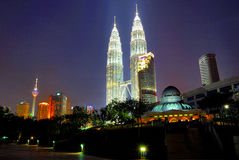 Petronas Twin Towers and Kuala Lumpur City Centre Stock Photo